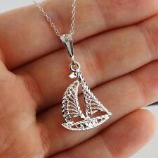 Sailboat Necklace - 925 Sterling Silver - Diamond Cut Pendant Sail Boat Sea NEW