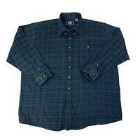 Sutter & Grant Mens Size 2XLT Tall Blue & Green Long Sleeve Button Front Shirt