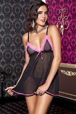 XL NERO + rosa trasparente Mesh SOTTOVESTE + perizoma set sexy Taglia lingerie