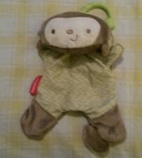 EUC~Fisher Price Brown/Green Hanging Monkey Plush Security/Lovey Rattle 9""