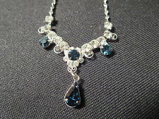Silver Blue Stone Rhinestone Necklace Earrings Set SPBC Lind Lindenwold NWOT