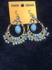 blue earrings fashion long