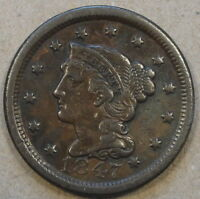 1847 Braided Hair Large Cent Mid-Better Grade Coin