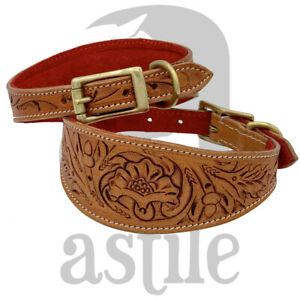 LEATHER WHIPPET GREY HOUND LURCHER DOG COLLAR VEGETABLE TANNED HAND TOOLED