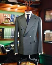 Gray Double Breasted Men Suits Peak Lapel Groom Tuxedo Prom Business Work Sets