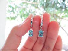 1.59 Carat Blue Zircon White Gold Creole Dangling Earrings 14k codeEx09