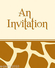 GIRAFFE ANIMAL PRINT INVITATIONS (8) ~ Birthday Party Supplies Stationery Cards