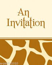 GIRAFFE ANIMAL PRINT INVITATIONS (8) ~ Birthday Party Supplies Stationery Cards