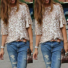 Sexy Sequin Women Lady Sparkle Glitter Tank 3/4 Sleeve Coctail Party Top T-Shirt