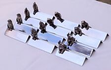 12 Rare Art Deco French animals and birds knife rests in box. By Argit. 1930s