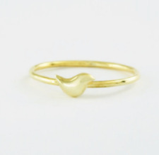 YELLOW GOLD PLATED ALLOY SOLID LITTLE BIRD STACK RING SPARROW BAND RING SIZE 7