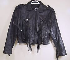 Silver Hawk Biker Rocker Leather Jacket Coat Fringe Womens Lots of Detail