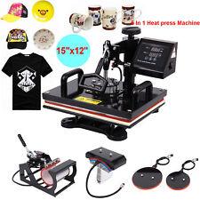 "5 IN 1 Cup Plate T-Shirt Heat Press Transfer 15""x12"" Printing Machine Swing Away"