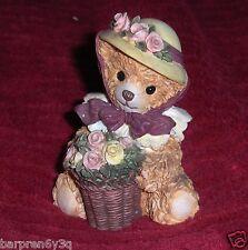 Vtg Posing with Posies Bainbridge Bears Figurine Floral Bear Garden Pot & Bonnet