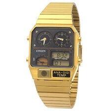 CITIZEN THERMOMETER ANALOG-DIGITAL DUAL TIME GOLD TONE MAN'S WATCH JG2002-53E