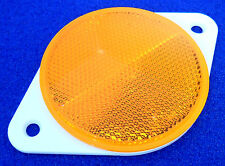 2x 70mm Round Amber / Orange Reflectors with white Screw Mount Backing Plate