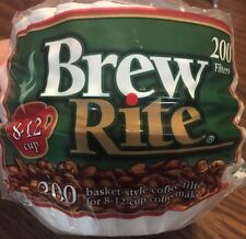 "200ct Brew Rite BASKET 8-12 cup Paper COFFEE FILTERS 3 1/4"" Round Base"