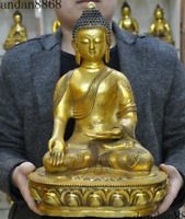 Old Tibet Buddhism fane bronze Gilt Sakyamuni Shakyamuni Tathagata Buddha statue