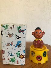 Vintage Wind-Up Plastic Monkey Music Box Plays Frere Jacques w/ Original Box