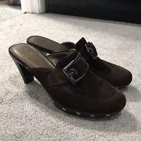 Stuart Weitzman Women's 7.5-8 Shoes Brown Suede Mules Clogs Heels Studs Pumps