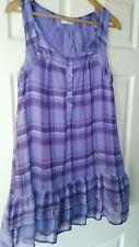 Womens Lilac and White Check Miss Selfridge Sleeveless Dress. Size 10.