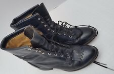 Laredo Black Leather Women Teen Granny Lace Up Boots Western Frontier Kiltie 7