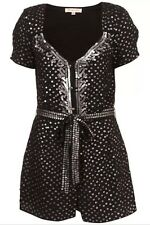 KATE MOSS TOPSHOP Premium Black Silver Sequin Belt Vtg Celeb Playsuit Shorts 6 2