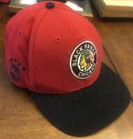 Chicago Blackhawks 47Brand Vintage Hockey NHL SnapBack Cap Black & Red EXCELLENT