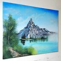 Peinture tableau réaliste, paysage a l`huile sur toile format 40/50 cm