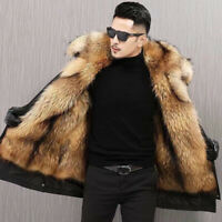 Winter Mens Parka Overcoat Faux Mink Fur Collar Jacket Hooded Fur Lined Warm New