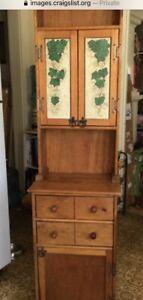 Tall Slender Hutch Storage Cabinet Wood Skinny Narrow Kitchen Bathroom Country