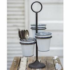Three Bucket Stand Cast Iron & Enamelware Caddy / Utensil Holder Planter Kitchen