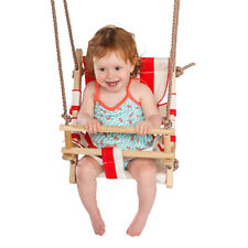 Wooden Secure Baby Canvas Hanging Swing Seat Hammock Toy with Safety Belt NEW!