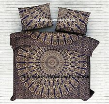 Gold Peacock Mandala Bed Sheet Hippie Bed Cover Indian Cotton Queen Size Bedding