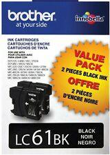 NEW SEALED 2 Pack Brother LC61BK Black Ink Cartridges