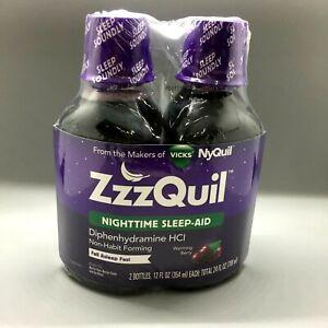 ZzzQuil Nighttime Sleep-Aid Liquid Warming Berry Flavor 12 oz Each 2PK 01/22+