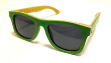 WOODEN Wayfarer SUNGLASSES Skateboard Green Bamboo & Leather Case by eSSyGees