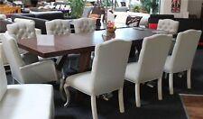 8x Designer Chesterfield Stuhl Set Polster Stühle XXL Textil Stoff Polster Stuhl