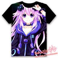 Anime Hyperdimension Neptunia Cosplay Unisex Black Short Sleeve T-shirt Tops#S39