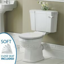 Carlton Traditional Close Coupled Ceramic Toilet Bathroom WC Soft Close Seat