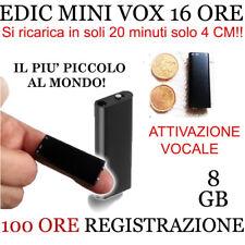 MICRO REGISTRATORE SPIA AUDIO VOCALE 8GB SPY  SPIA AMBIENTALE USB