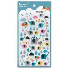 CUTE ELEPHANT STICKERS Pawoo Bird Kawaii Gel Sticker Sheet NEW Craft Scrapbook