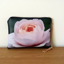 Clutch Bag Hand Floral Wedding Strap Faux Leather Rose Chain Handmade Travel