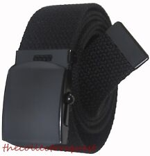 "NEW 1.5"" inch WIDE ADJUSTABLE 82"" CANVAS MILITARY WEB GOLF BLACK BELT BUCKLE"