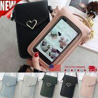 US Heart Cross-body Phone Shoulder Bag Pouch Case Belt Handbag Purse Wallet 2021