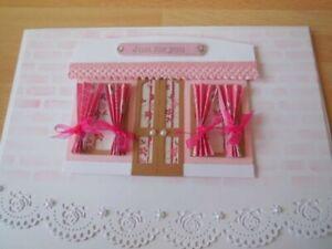 Card making die cuts toppers shop window pink doors, windows, frame, pelmets,