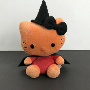 "Ty Beanie Babies Hello Kitty Halloween Witch Orange / Black Plush /Rare 7.5"""