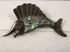 Antique Sterling Silver Marked Abalone Swordfish Brooch by Taxco Artist ANA SOSA