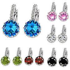 Fashion Silver Plated Women Multicolor Crystal Rhinestone Ear Stud Hoop Earrings