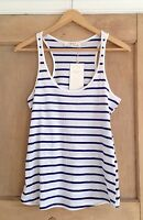 ZARA top size S 8 WHITE BLUE Stripe BNWT NAUTICAL